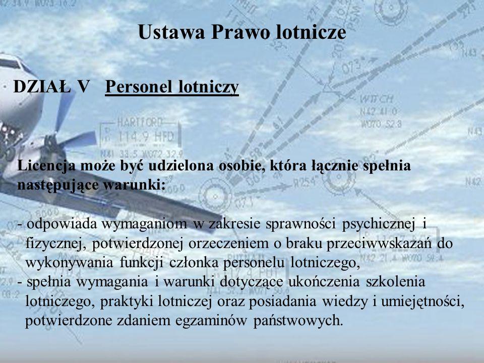 Dominik Punda Ustawa Prawo lotnicze DZIAŁ V Personel lotniczy Licencja może być udzielona osobie, która łącznie spełnia następujące warunki: - odpowia