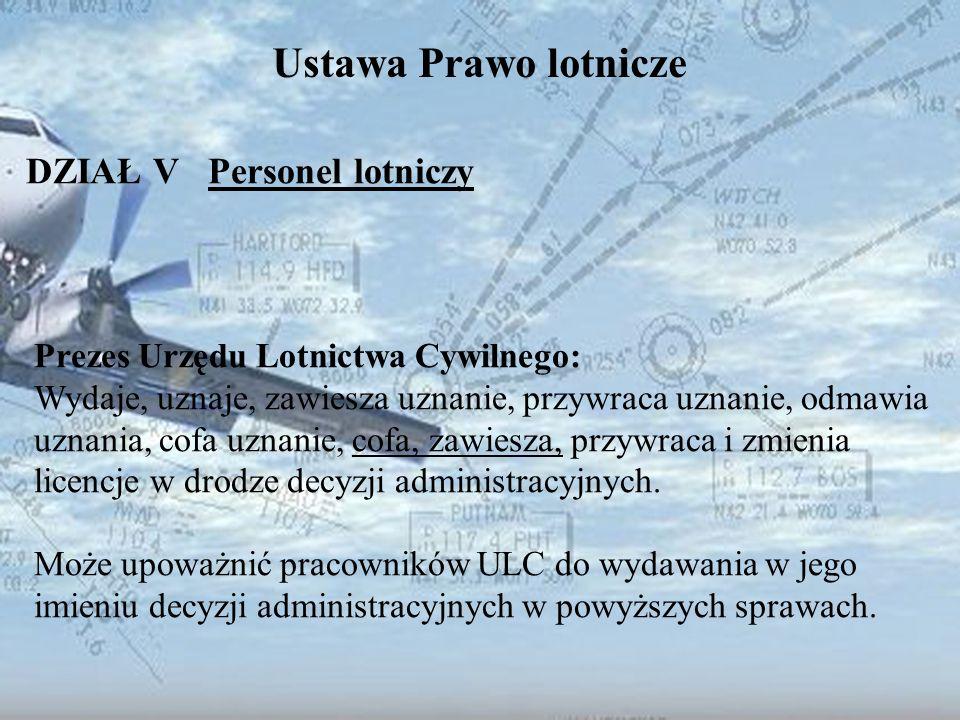 Dominik Punda Ustawa Prawo lotnicze DZIAŁ V Personel lotniczy Prezes Urzędu Lotnictwa Cywilnego: Wydaje, uznaje, zawiesza uznanie, przywraca uznanie,