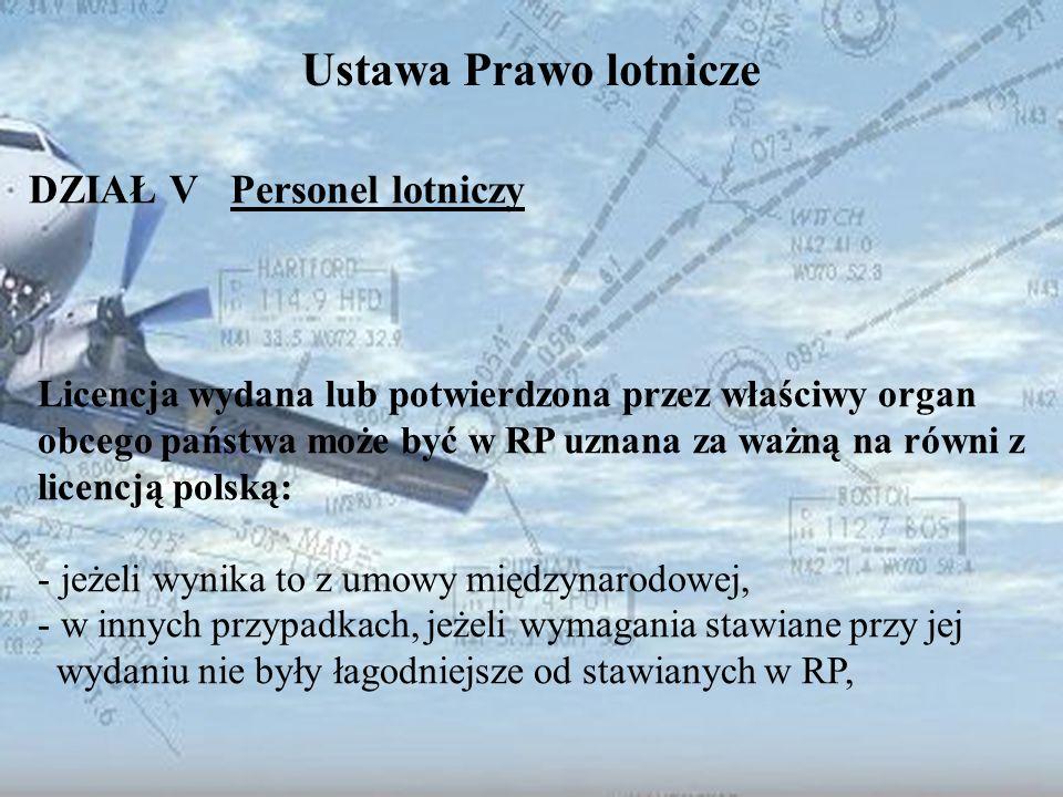 Dominik Punda Ustawa Prawo lotnicze DZIAŁ V Personel lotniczy Licencja wydana lub potwierdzona przez właściwy organ obcego państwa może być w RP uznan