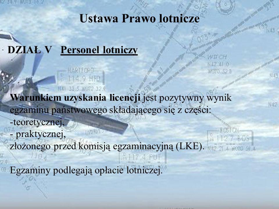 Dominik Punda Ustawa Prawo lotnicze DZIAŁ V Personel lotniczy Warunkiem uzyskania licencji jest pozytywny wynik egzaminu państwowego składającego się
