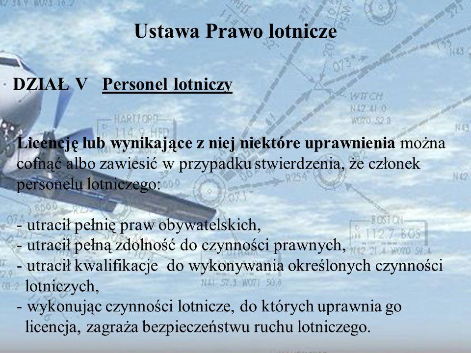 Dominik Punda Ustawa Prawo lotnicze DZIAŁ V Personel lotniczy Licencję lub wynikające z niej niektóre uprawnienia można cofnąć albo zawiesić w przypad