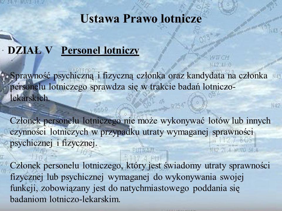 Dominik Punda Ustawa Prawo lotnicze DZIAŁ V Personel lotniczy Sprawność psychiczną i fizyczną członka oraz kandydata na członka personelu lotniczego s