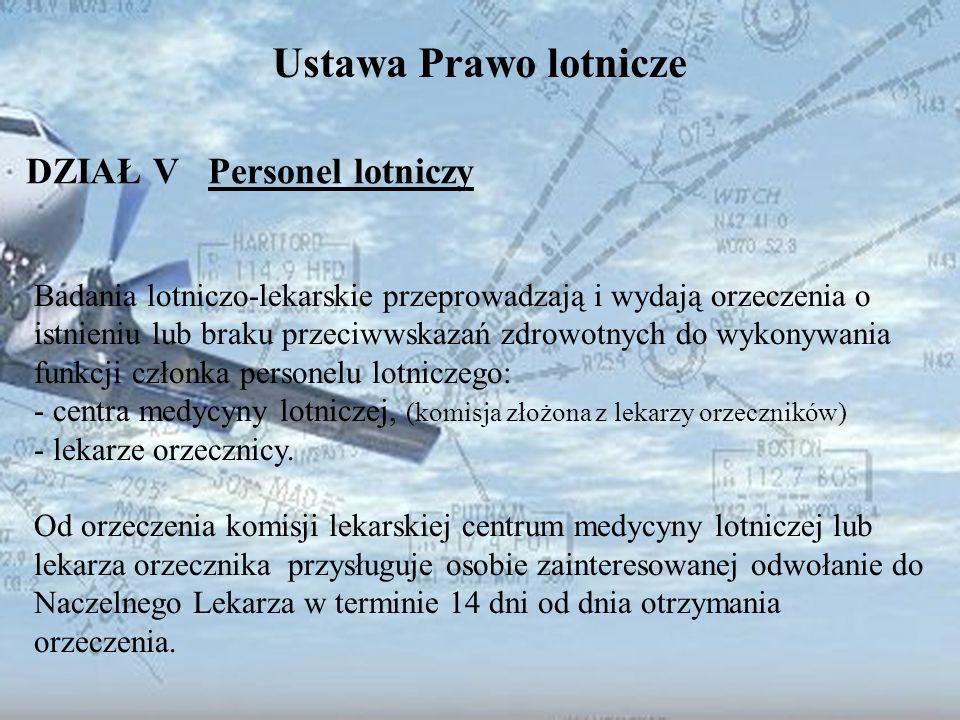 Dominik Punda Ustawa Prawo lotnicze DZIAŁ V Personel lotniczy Badania lotniczo-lekarskie przeprowadzają i wydają orzeczenia o istnieniu lub braku prze