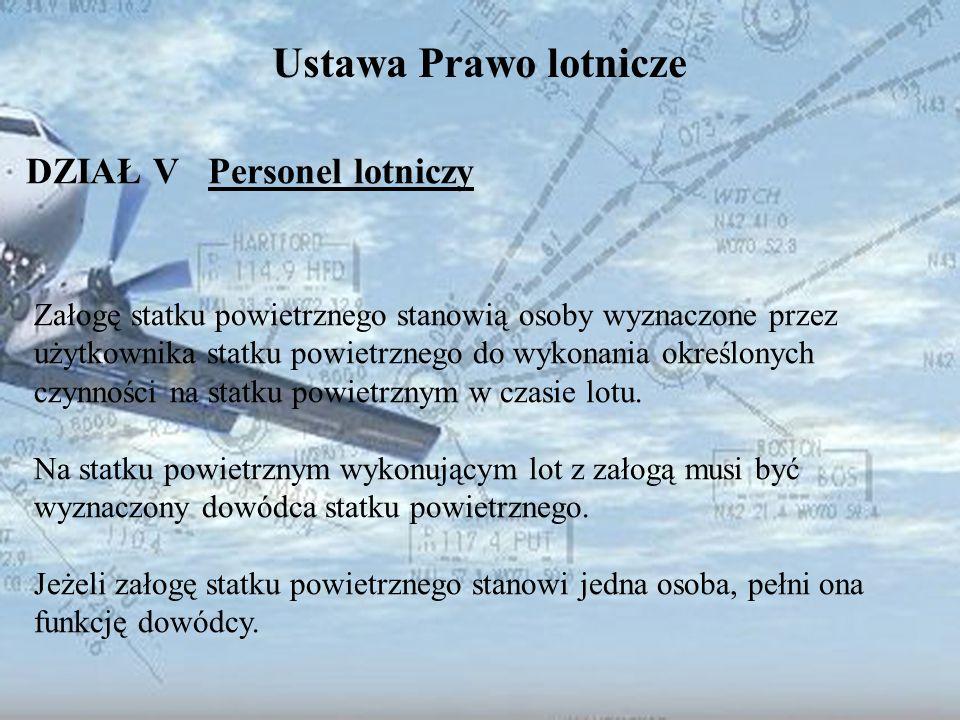 Dominik Punda Ustawa Prawo lotnicze DZIAŁ V Personel lotniczy Załogę statku powietrznego stanowią osoby wyznaczone przez użytkownika statku powietrzne