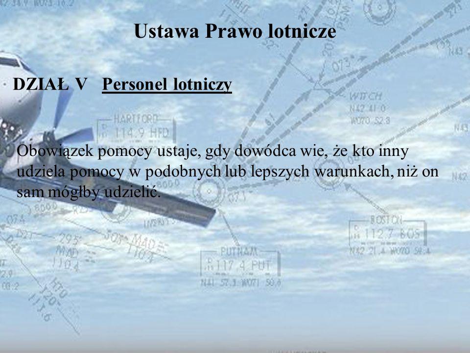 Dominik Punda Ustawa Prawo lotnicze DZIAŁ V Personel lotniczy Obowiązek pomocy ustaje, gdy dowódca wie, że kto inny udziela pomocy w podobnych lub lep