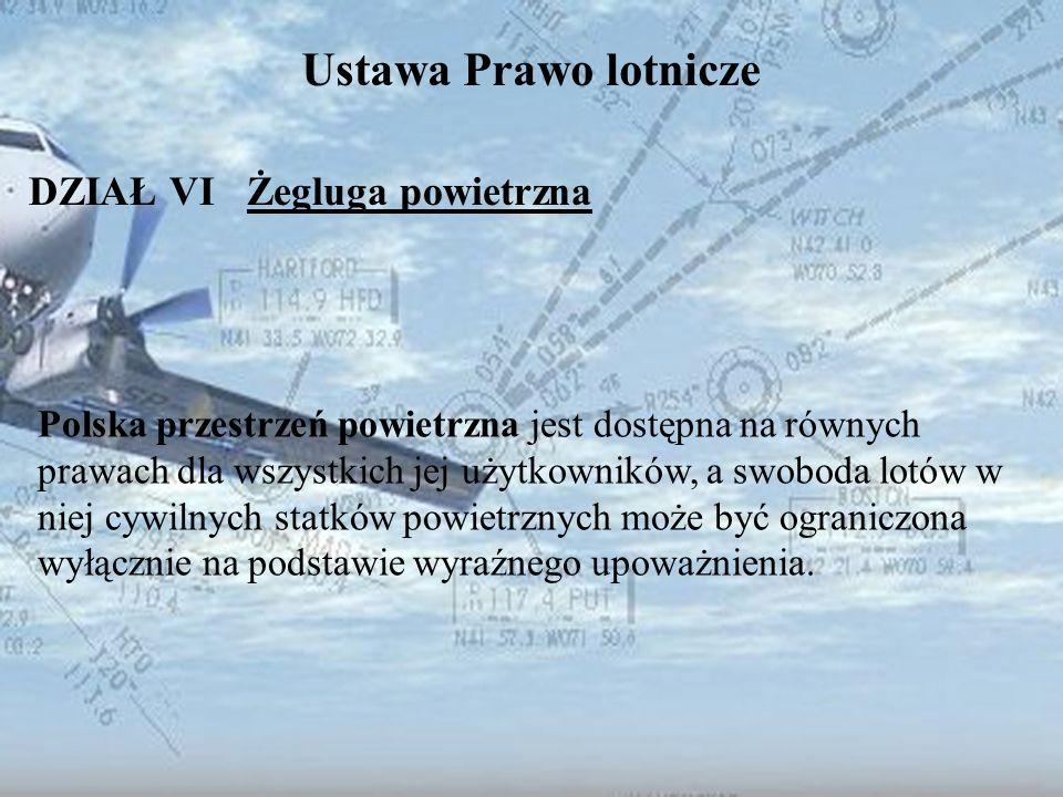 Dominik Punda Ustawa Prawo lotnicze DZIAŁ VI Żegluga powietrzna Polska przestrzeń powietrzna jest dostępna na równych prawach dla wszystkich jej użytk