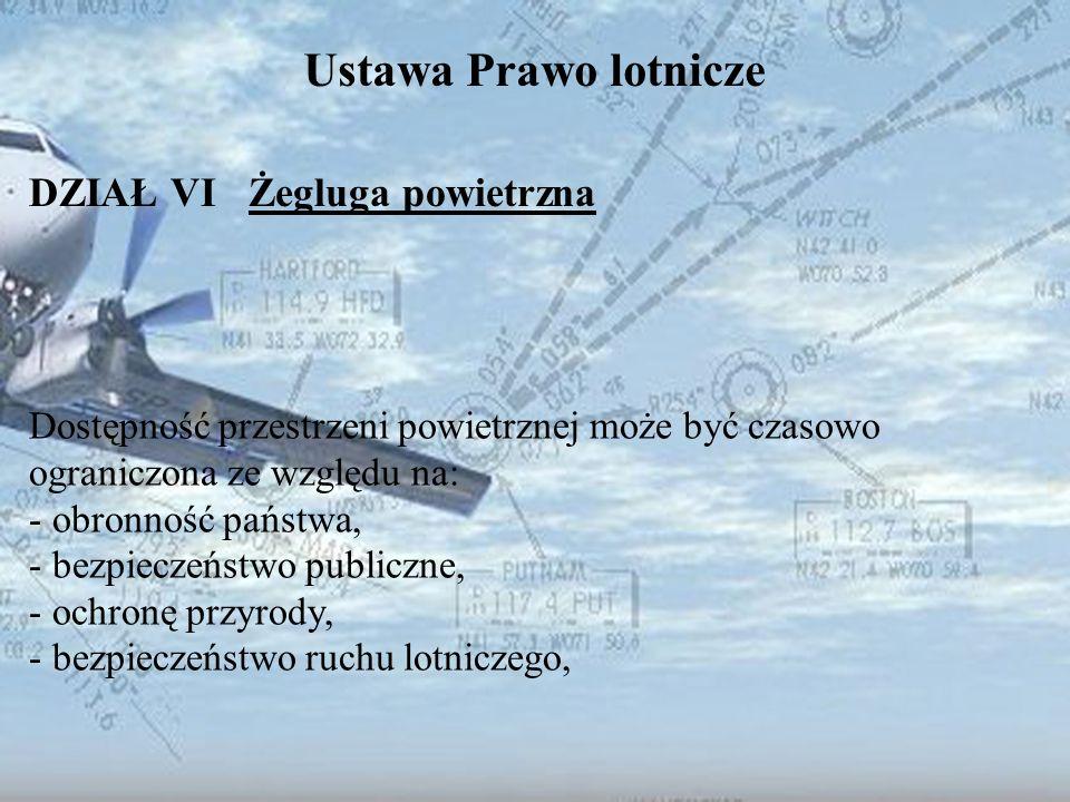 Dominik Punda Ustawa Prawo lotnicze DZIAŁ VI Żegluga powietrzna Dostępność przestrzeni powietrznej może być czasowo ograniczona ze względu na: - obron