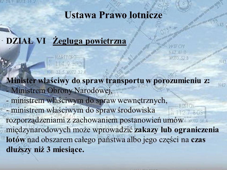 Dominik Punda Ustawa Prawo lotnicze DZIAŁ VI Żegluga powietrzna Minister właściwy do spraw transportu w porozumieniu z: - Ministrem Obrony Narodowej,