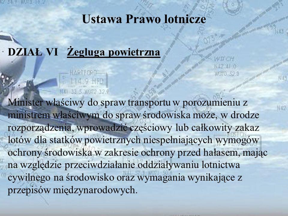 Dominik Punda Ustawa Prawo lotnicze DZIAŁ VI Żegluga powietrzna Minister właściwy do spraw transportu w porozumieniu z ministrem właściwym do spraw śr