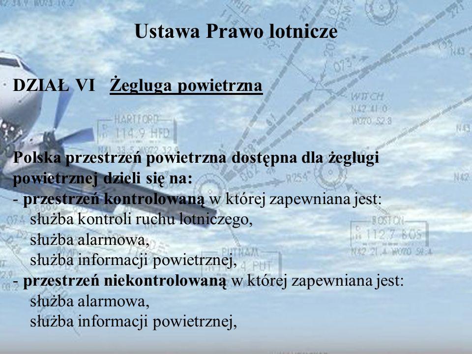 Dominik Punda Ustawa Prawo lotnicze DZIAŁ VI Żegluga powietrzna Polska przestrzeń powietrzna dostępna dla żeglugi powietrznej dzieli się na: - przestr