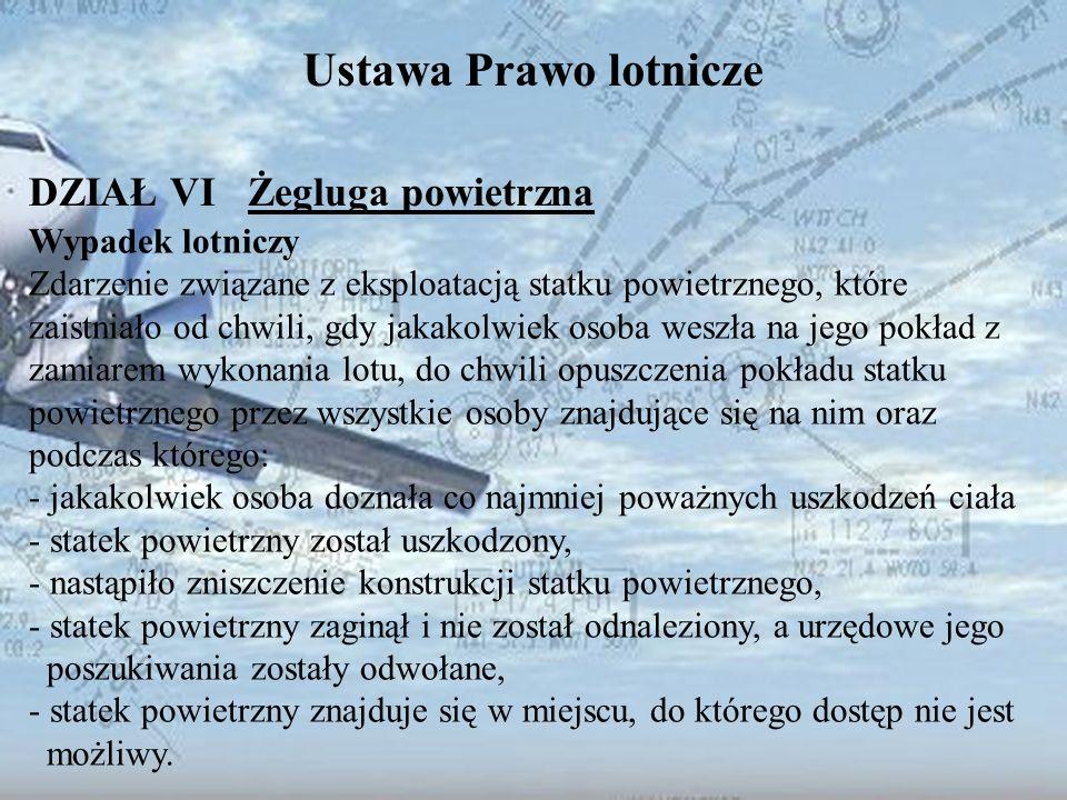 Dominik Punda Ustawa Prawo lotnicze DZIAŁ VI Żegluga powietrzna Wypadek lotniczy Zdarzenie związane z eksploatacją statku powietrznego, które zaistnia