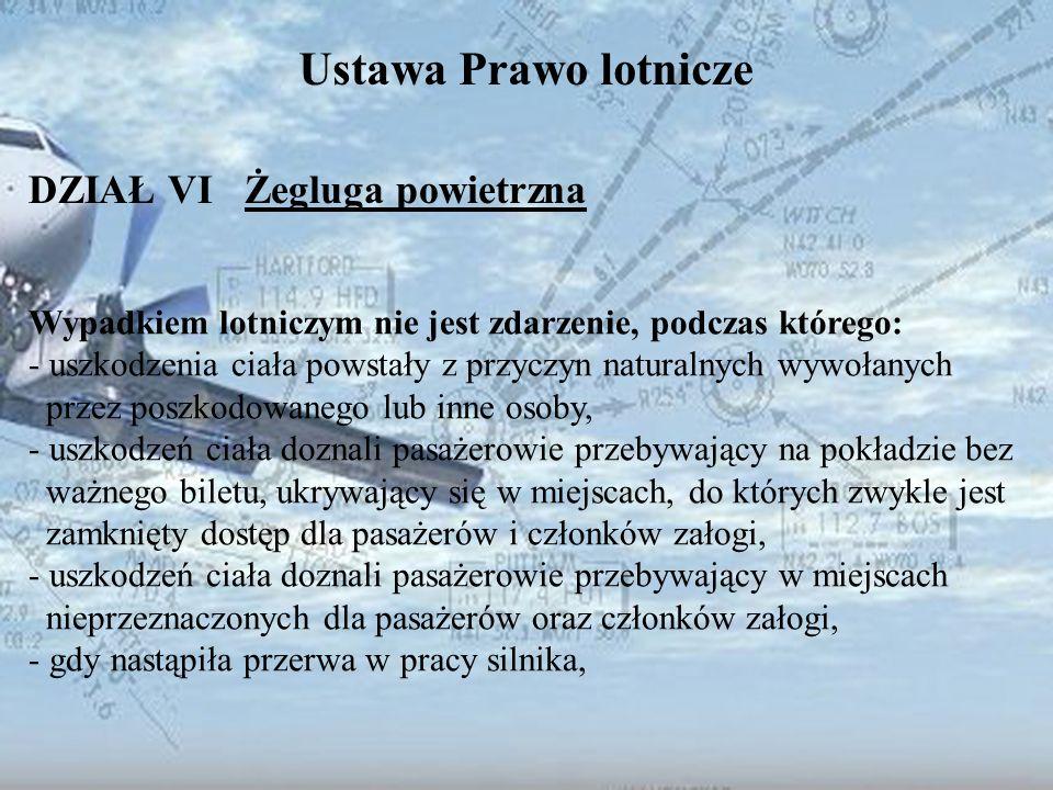 Dominik Punda Ustawa Prawo lotnicze DZIAŁ VI Żegluga powietrzna Wypadkiem lotniczym nie jest zdarzenie, podczas którego: - uszkodzenia ciała powstały