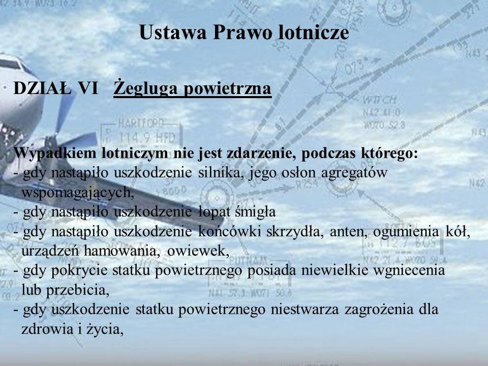 Dominik Punda Ustawa Prawo lotnicze DZIAŁ VI Żegluga powietrzna Wypadkiem lotniczym nie jest zdarzenie, podczas którego: - gdy nastąpiło uszkodzenie s