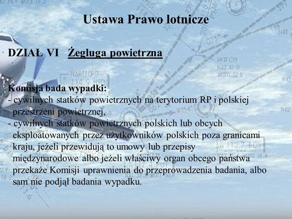 Dominik Punda Ustawa Prawo lotnicze DZIAŁ VI Żegluga powietrzna Komisja bada wypadki: - cywilnych statków powietrznych na terytorium RP i polskiej prz