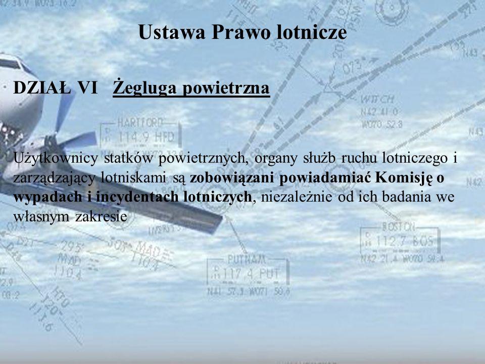Dominik Punda Ustawa Prawo lotnicze DZIAŁ VI Żegluga powietrzna Użytkownicy statków powietrznych, organy służb ruchu lotniczego i zarządzający lotnisk