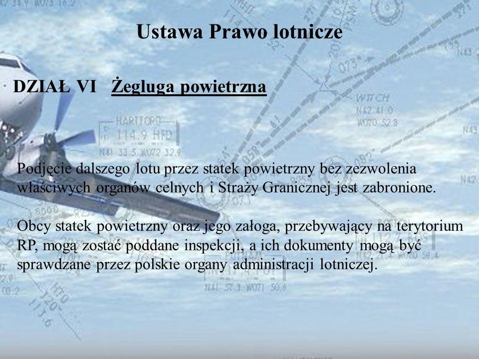Dominik Punda Ustawa Prawo lotnicze DZIAŁ VI Żegluga powietrzna Podjęcie dalszego lotu przez statek powietrzny bez zezwolenia właściwych organów celny