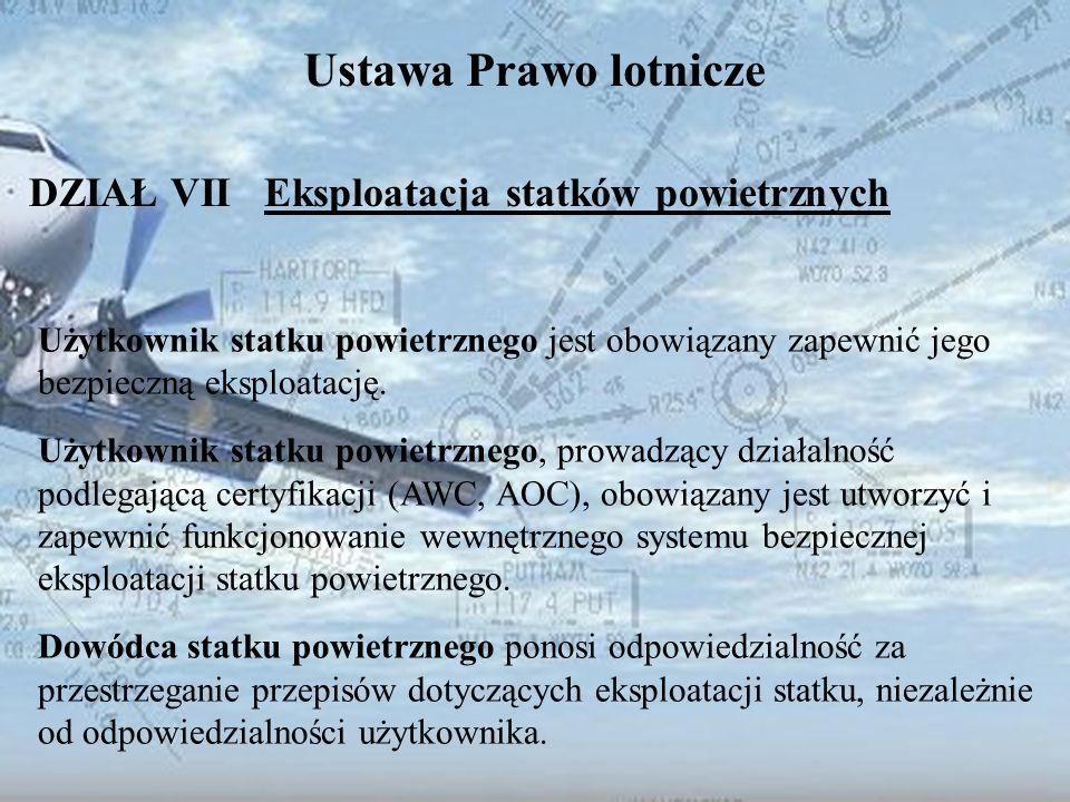 Dominik Punda Ustawa Prawo lotnicze DZIAŁ VII Eksploatacja statków powietrznych Użytkownik statku powietrznego jest obowiązany zapewnić jego bezpieczn