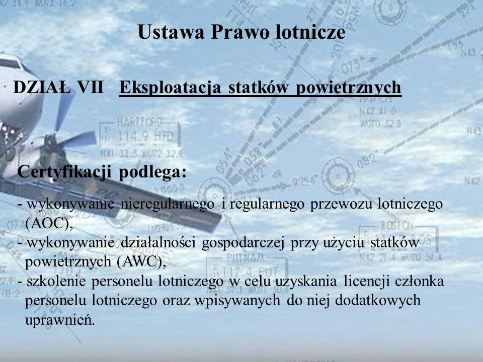 Dominik Punda Ustawa Prawo lotnicze DZIAŁ VII Eksploatacja statków powietrznych Certyfikacji podlega: - wykonywanie nieregularnego i regularnego przew