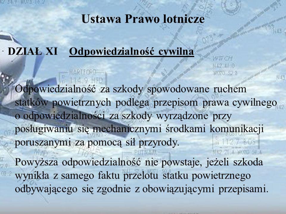 Dominik Punda Ustawa Prawo lotnicze DZIAŁ XI Odpowiedzialność cywilna Odpowiedzialność za szkody spowodowane ruchem statków powietrznych podlega przep