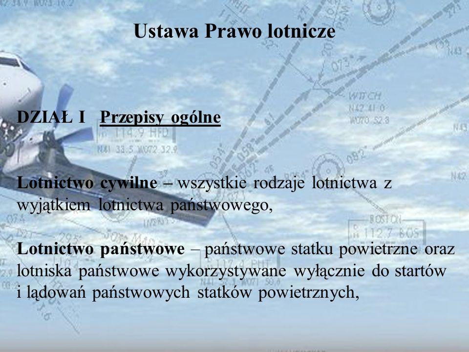 Dominik Punda Ustawa Prawo lotnicze DZIAŁ I Przepisy ogólne Polski państwowy statek powietrzny: - statek powietrzny używany przez Siły Zbrojne RP (wojskowy statek powietrzny), - statek powietrzny używany przez jednostki organizacyjne: Straży Granicznej, Policji, Państwowej Straży Pożarnej i służby celnej (statek powietrzny lotnictwa służb porządku publicznego),