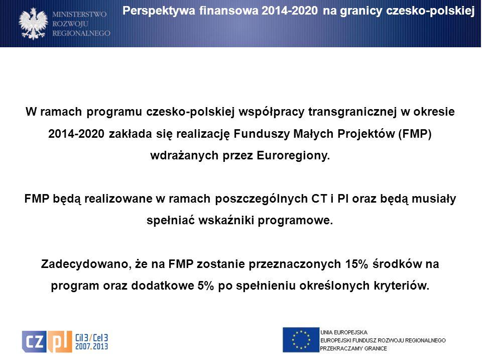 Perspektywa finansowa 2014-2020 na granicy czesko-polskiej W ramach programu czesko-polskiej współpracy transgranicznej w okresie 2014-2020 zakłada si