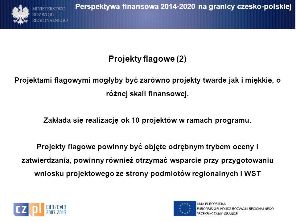 Perspektywa finansowa 2014-2020 na granicy czesko-polskiej Projekty flagowe (2) Projektami flagowymi mogłyby być zarówno projekty twarde jak i miękkie