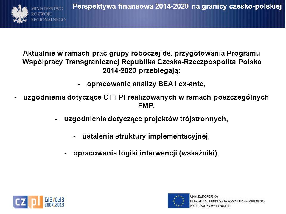 Perspektywa finansowa 2014-2020 na granicy czesko-polskiej Aktualnie w ramach prac grupy roboczej ds. przygotowania Programu Współpracy Transgraniczne