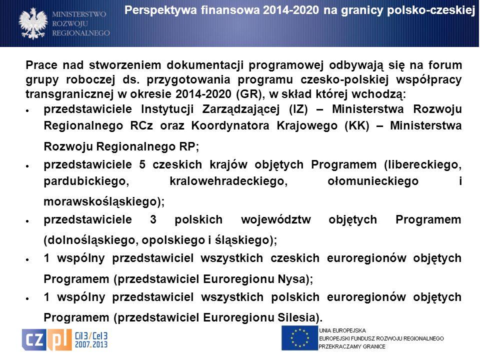 Prace nad stworzeniem dokumentacji programowej odbywają się na forum grupy roboczej ds. przygotowania programu czesko-polskiej współpracy transgranicz