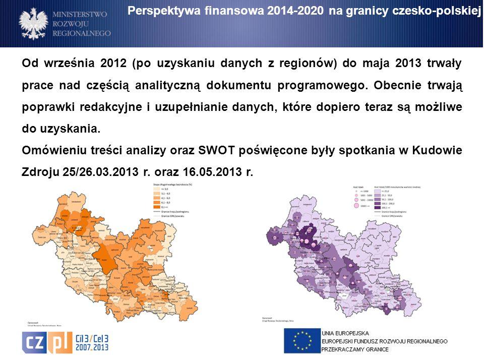 Od września 2012 (po uzyskaniu danych z regionów) do maja 2013 trwały prace nad częścią analityczną dokumentu programowego. Obecnie trwają poprawki re
