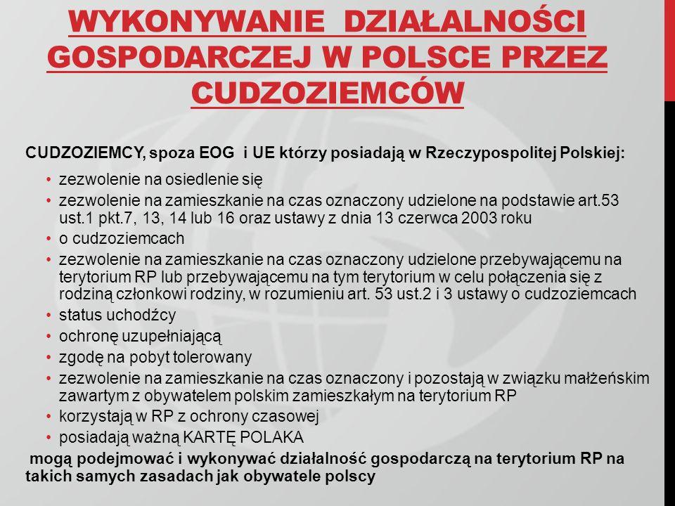 WYKONYWANIE DZIAŁALNOŚCI GOSPODARCZEJ W POLSCE PRZEZ CUDZOZIEMCÓW CUDZOZIEMCY, spoza EOG i UE którzy posiadają w Rzeczypospolitej Polskiej: zezwolenie