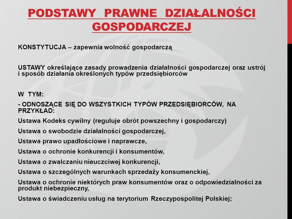 PODSTAWY PRAWNE DZIAŁALNOŚCI GOSPODARCZEJ c.d.
