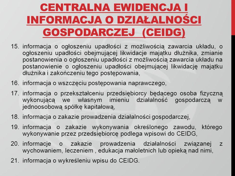 CENTRALNA EWIDENCJA I INFORMACJA O DZIAŁALNOŚCI GOSPODARCZEJ (CEIDG) 15.informacja o ogłoszeniu upadłości z możliwością zawarcia układu, o ogłoszeniu