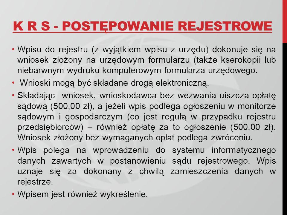 K R S - POSTĘPOWANIE REJESTROWE Wpisu do rejestru (z wyjątkiem wpisu z urzędu) dokonuje się na wniosek złożony na urzędowym formularzu (także kserokop