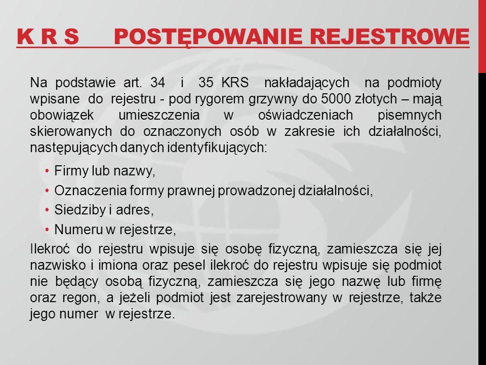 K R SPOSTĘPOWANIE REJESTROWE Na podstawie art. 34 i 35 KRS nakładających na podmioty wpisane do rejestru - pod rygorem grzywny do 5000 złotych – mają