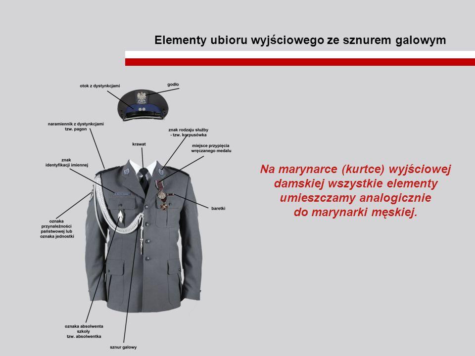 Elementy ubioru wyjściowego ze sznurem galowym Na marynarce (kurtce) wyjściowej damskiej wszystkie elementy umieszczamy analogicznie do marynarki męsk