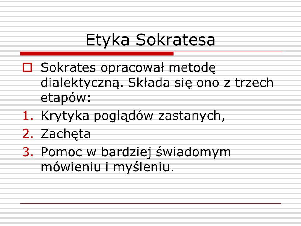 Etyka Sokratesa Sokrates opracował metodę dialektyczną.