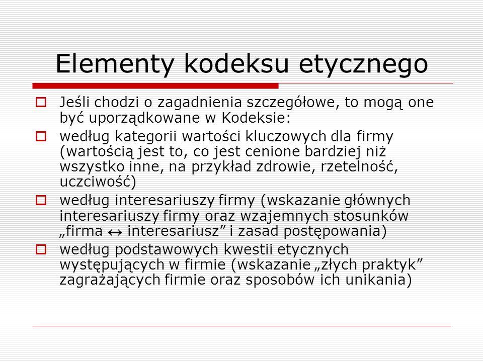 Elementy kodeksu etycznego Jeśli chodzi o zagadnienia szczegółowe, to mogą one być uporządkowane w Kodeksie: według kategorii wartości kluczowych dla