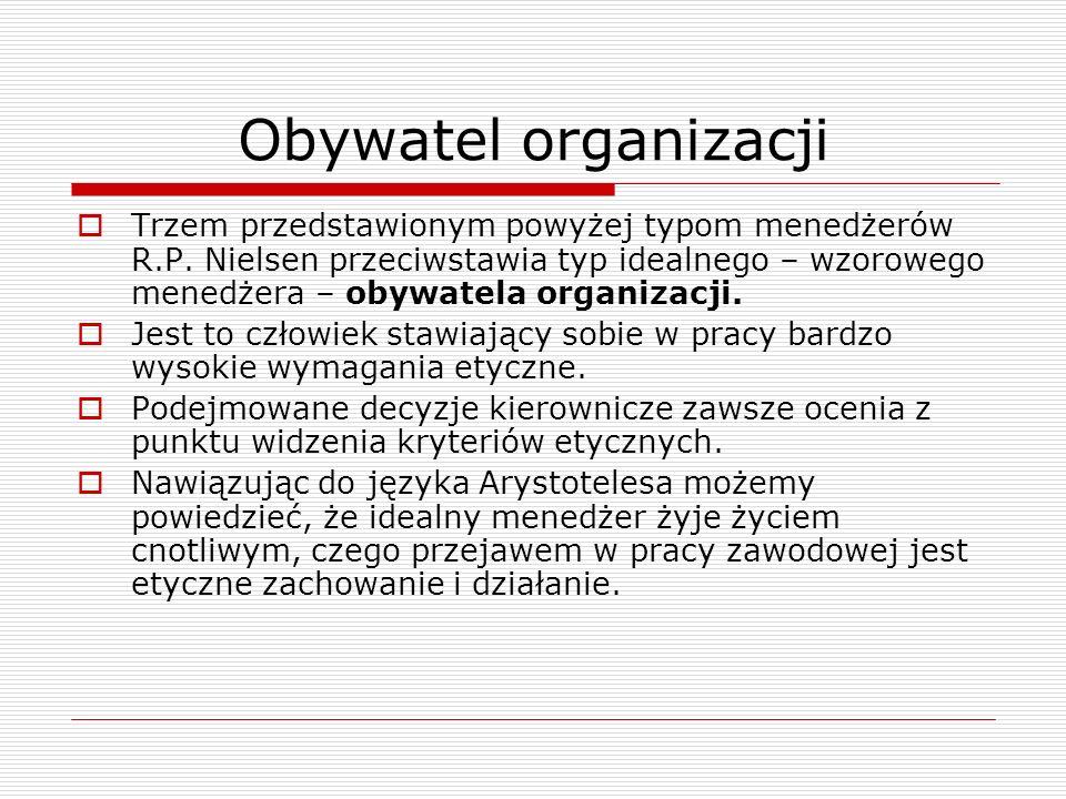 Obywatel organizacji Trzem przedstawionym powyżej typom menedżerów R.P. Nielsen przeciwstawia typ idealnego – wzorowego menedżera – obywatela organiza