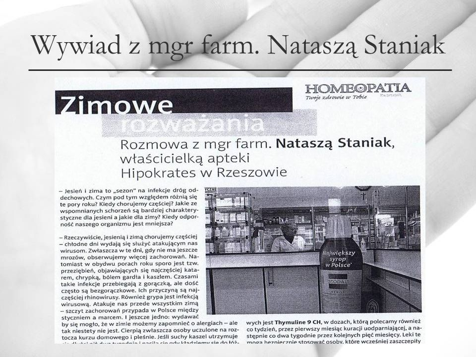 Wywiad z mgr farm. Nataszą Staniak