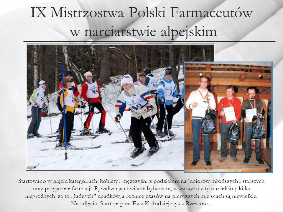 IX Mistrzostwa Polski Farmaceutów w narciarstwie alpejskim Startowano w pięciu kategoriach: kobiety i mężczyźni z podziałem na juniorów młodszych i st