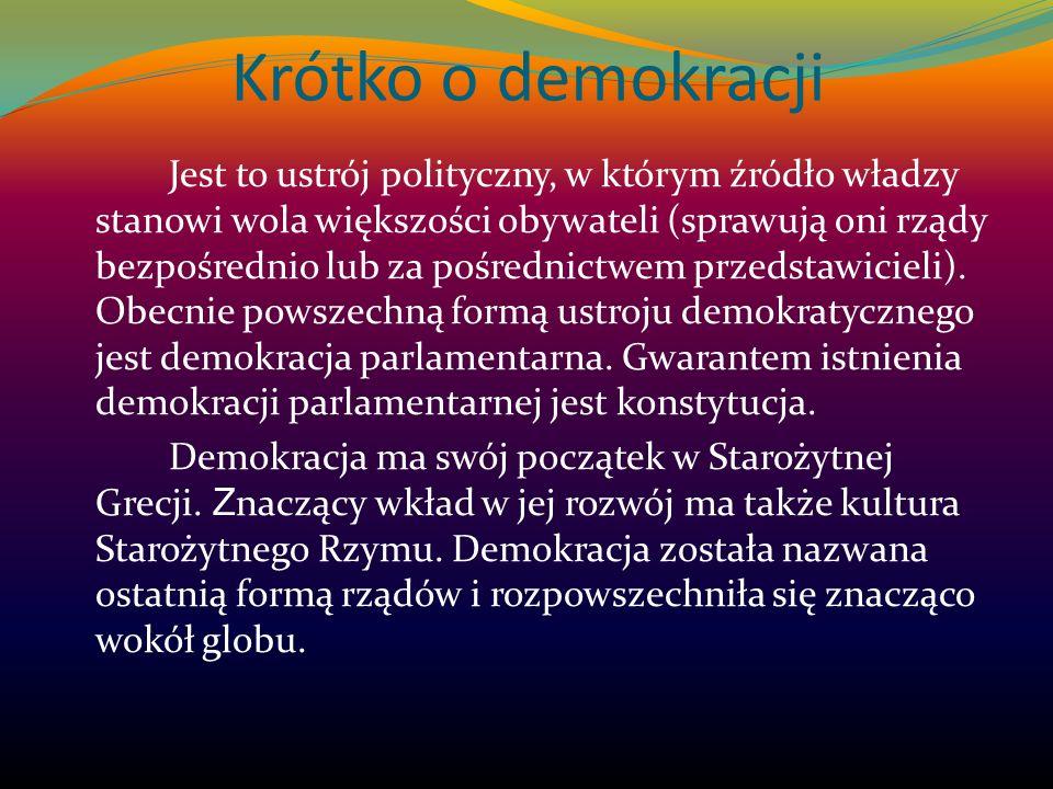 Krótko o demokracji Jest to ustrój polityczny, w którym źródło władzy stanowi wola większości obywateli (sprawują oni rządy bezpośrednio lub za pośred