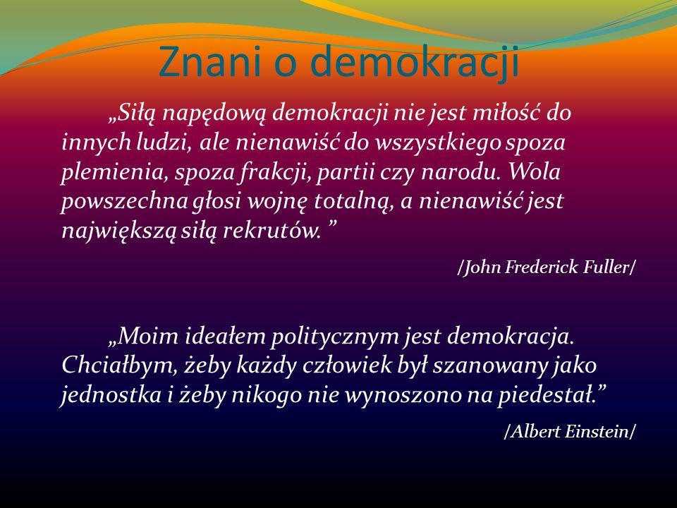 Znani o demokracji Siłą napędową demokracji nie jest miłość do innych ludzi, ale nienawiść do wszystkiego spoza plemienia, spoza frakcji, partii czy n