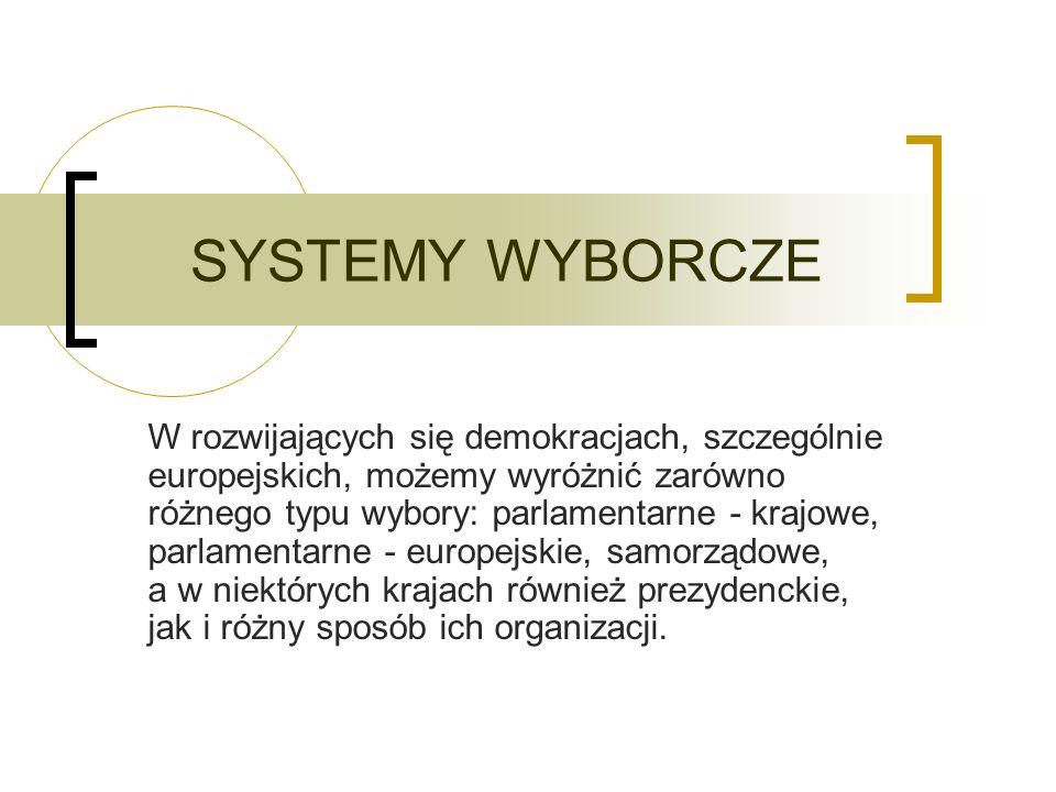 SYSTEMY WYBORCZE W rozwijających się demokracjach, szczególnie europejskich, możemy wyróżnić zarówno różnego typu wybory: parlamentarne - krajowe, parlamentarne - europejskie, samorządowe, a w niektórych krajach również prezydenckie, jak i różny sposób ich organizacji.