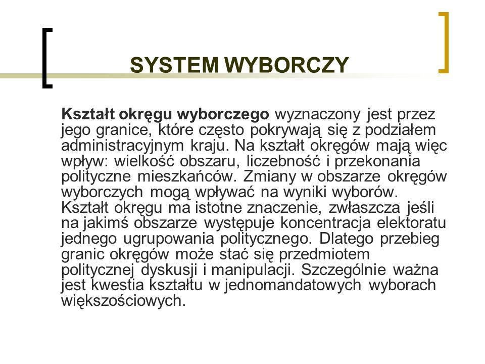 SYSTEM WYBORCZY Kształt okręgu wyborczego wyznaczony jest przez jego granice, które często pokrywają się z podziałem administracyjnym kraju.