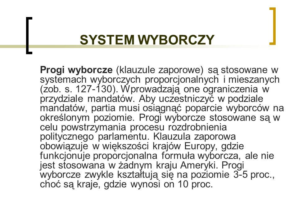 SYSTEM WYBORCZY Progi wyborcze (klauzule zaporowe) są stosowane w systemach wyborczych proporcjonalnych i mieszanych (zob.