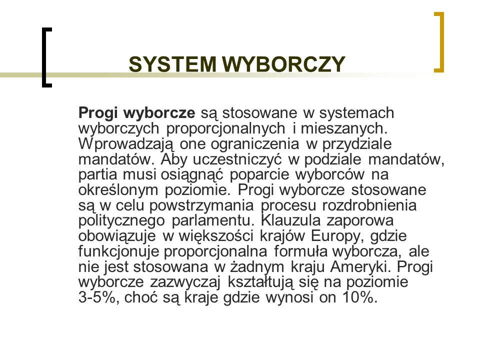 SYSTEM WYBORCZY Progi wyborcze są stosowane w systemach wyborczych proporcjonalnych i mieszanych.