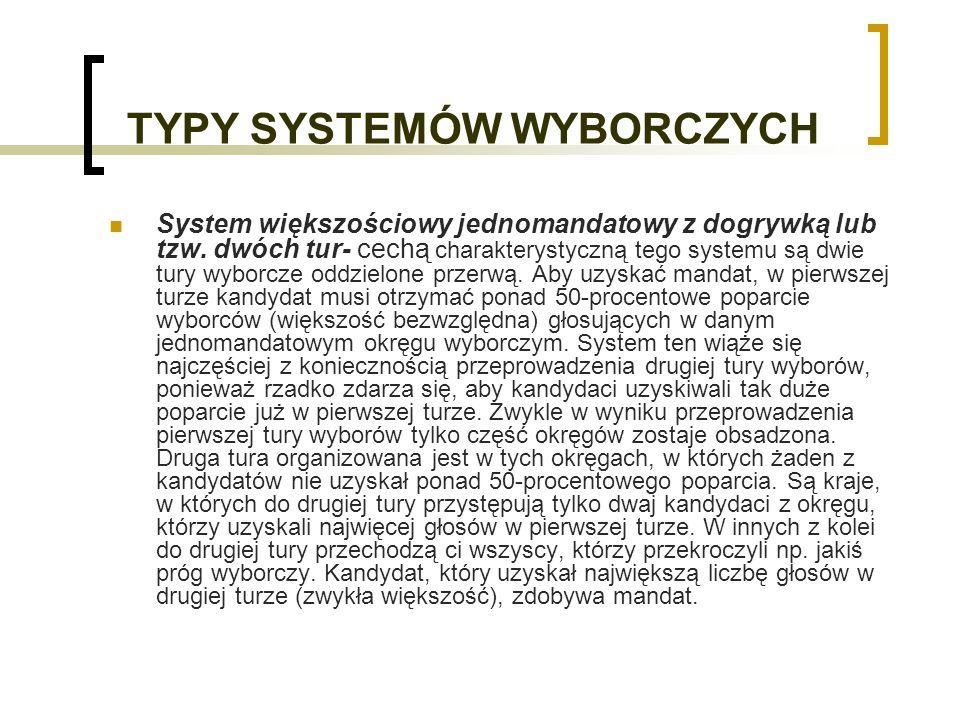 TYPY SYSTEMÓW WYBORCZYCH System większościowy jednomandatowy z dogrywką lub tzw.