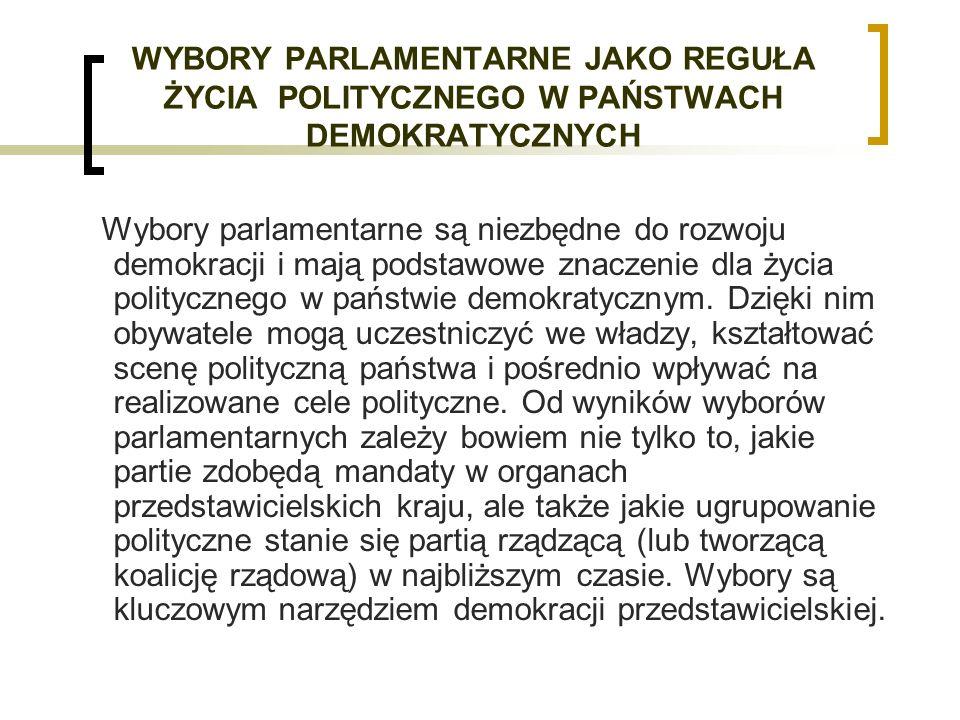 WYBORY PARLAMENTARNE JAKO REGUŁA ŻYCIA POLITYCZNEGO W PAŃSTWACH DEMOKRATYCZNYCH Wybory parlamentarne są niezbędne do rozwoju demokracji i mają podstawowe znaczenie dla życia politycznego w państwie demokratycznym.