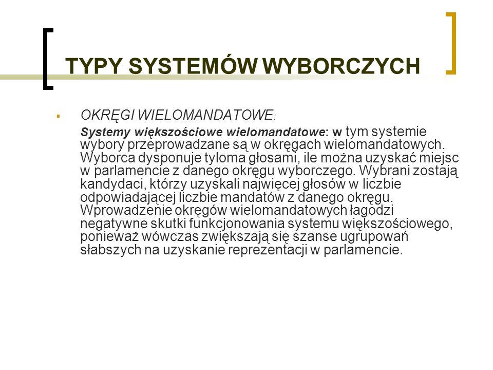 TYPY SYSTEMÓW WYBORCZYCH OKRĘGI WIELOMANDATOWE : Systemy większościowe wielomandatowe: w tym systemie wybory przeprowadzane są w okręgach wielomandatowych.