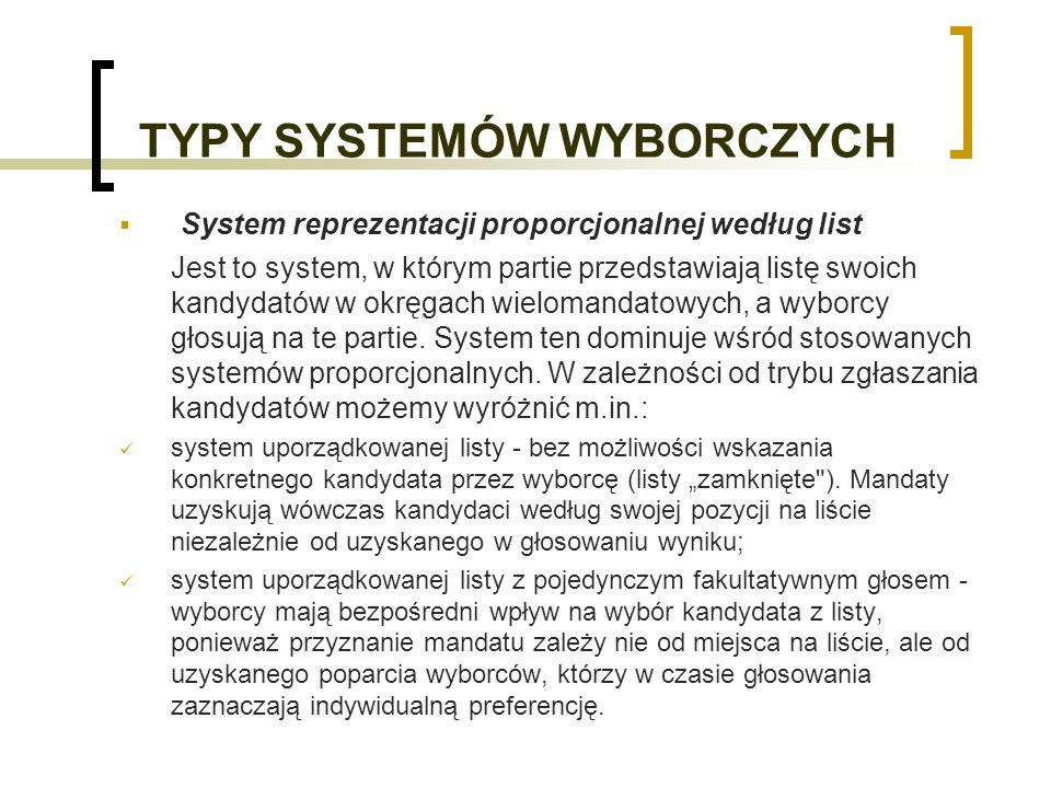 TYPY SYSTEMÓW WYBORCZYCH System reprezentacji proporcjonalnej według list Jest to system, w którym partie przedstawiają listę swoich kandydatów w okręgach wielomandatowych, a wyborcy głosują na te partie.